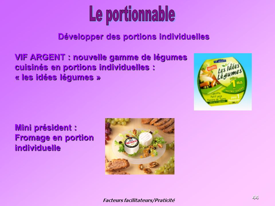 Développer des portions individuelles Facteurs facilitateurs/Praticité