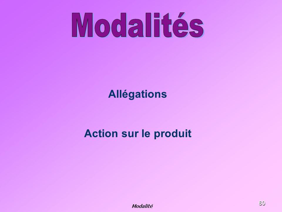 Modalités Allégations Action sur le produit Modalité