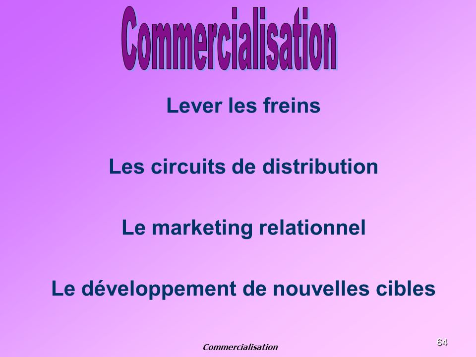 Commercialisation Lever les freins Les circuits de distribution