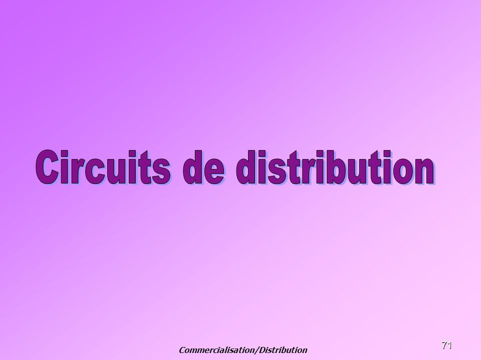 Commercialisation/Distribution