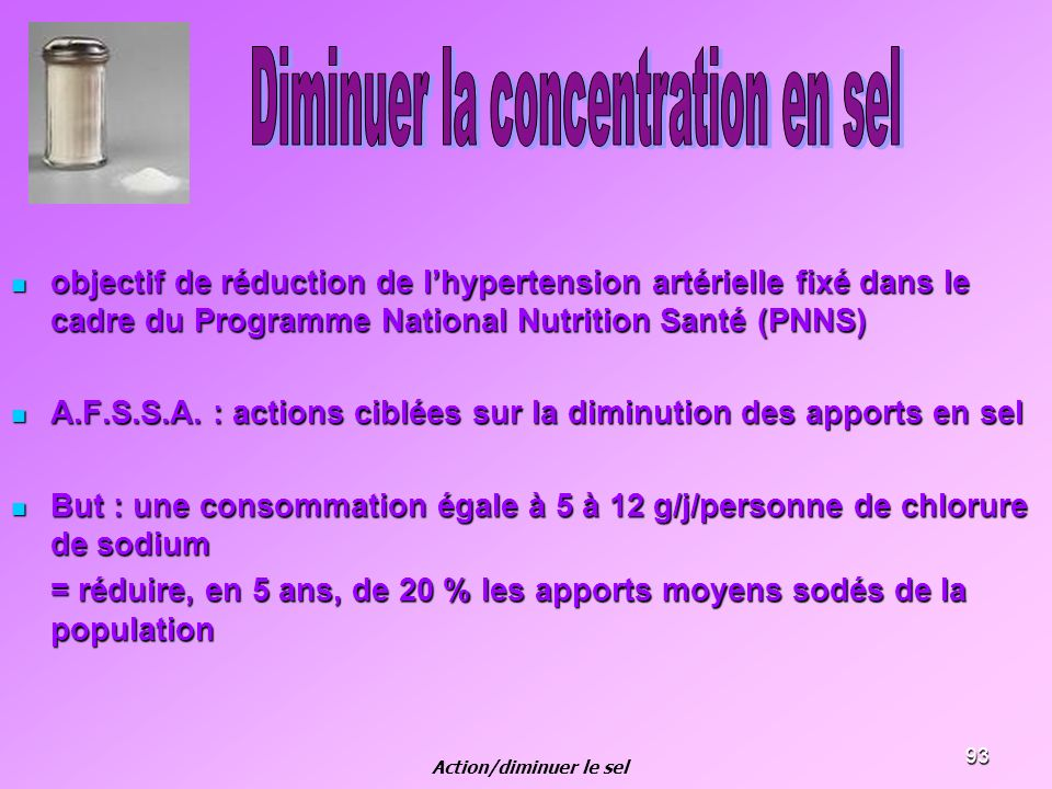 Action/diminuer le sel