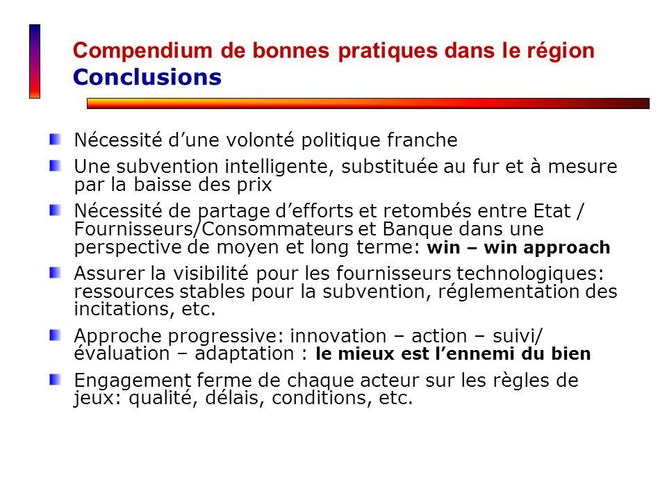 Compendium de bonnes pratiques dans le région Conclusions