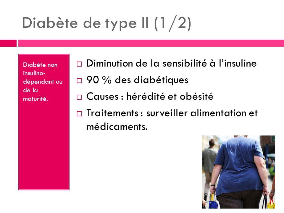 Diabète de type II (1/2) Diminution de la sensibilité à l'insuline