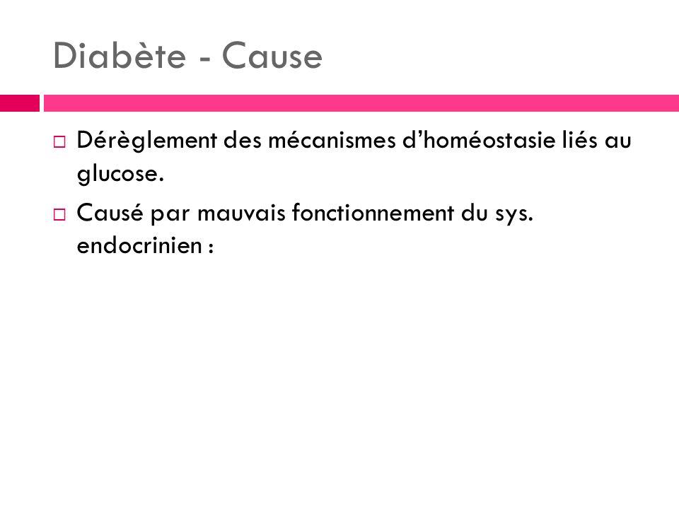 Diabète - Cause Dérèglement des mécanismes d'homéostasie liés au glucose.