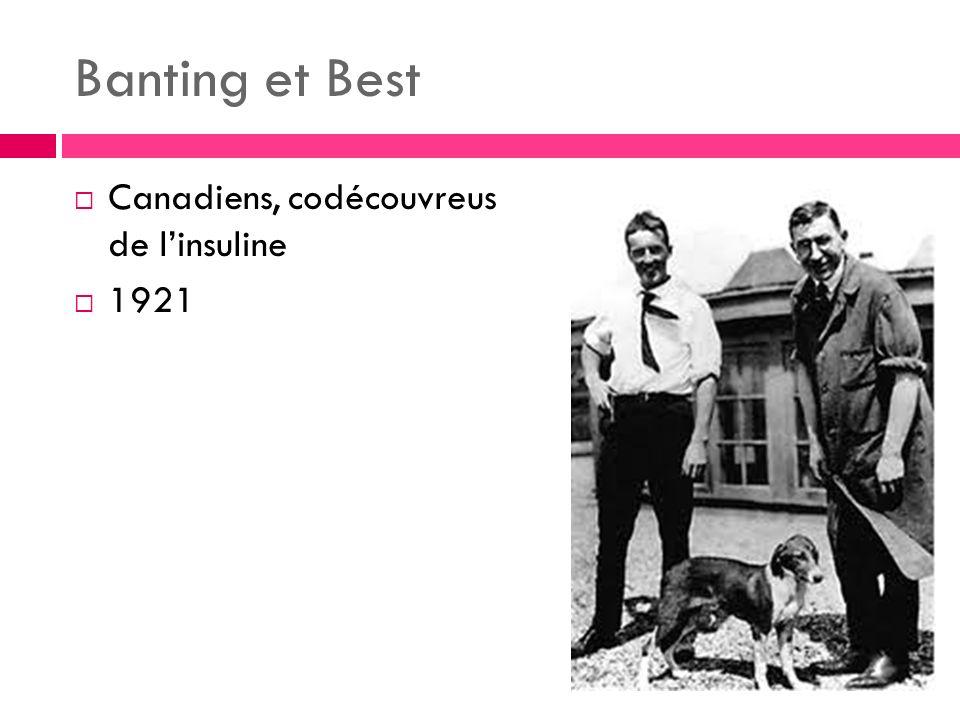 Banting et Best Canadiens, codécouvreus de l'insuline 1921