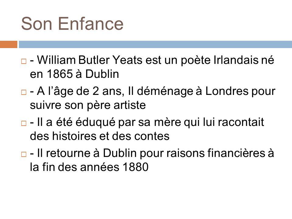 Son Enfance - William Butler Yeats est un poète Irlandais né en 1865 à Dublin.