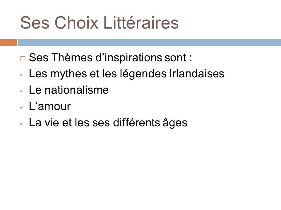 Ses Choix Littéraires Ses Thèmes d'inspirations sont :