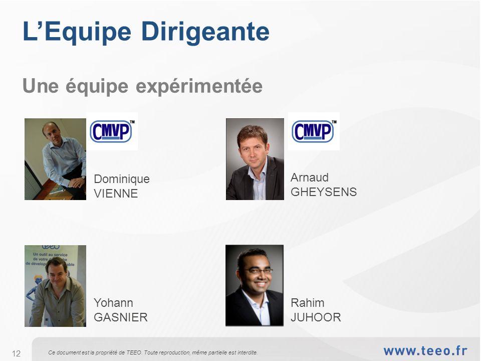 L'Equipe Dirigeante Une équipe expérimentée Dominique VIENNE Arnaud
