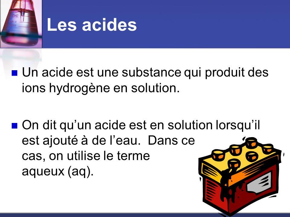 Les acides Un acide est une substance qui produit des ions hydrogène en solution.