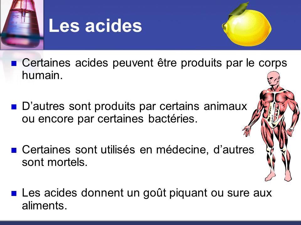 Les acides Certaines acides peuvent être produits par le corps humain.