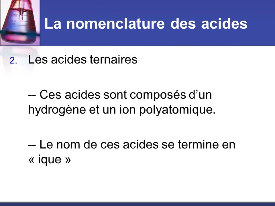 La nomenclature des acides