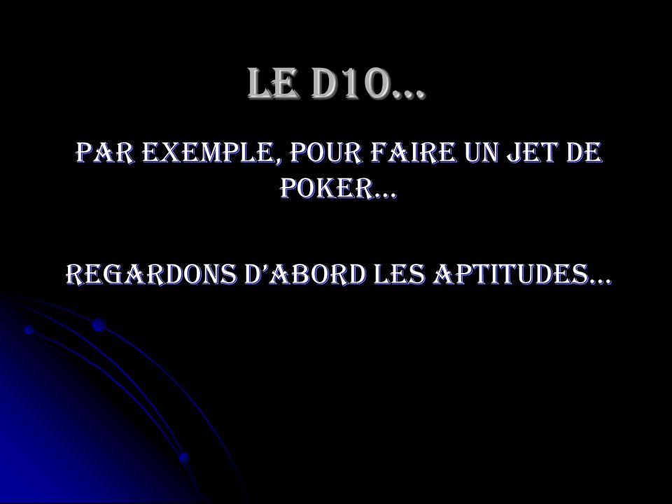 Le D10… Par exemple, pour faire un jet de poker…
