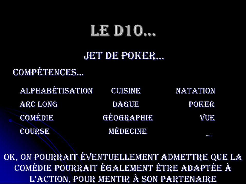 Le D10… jet de poker… Compétences…