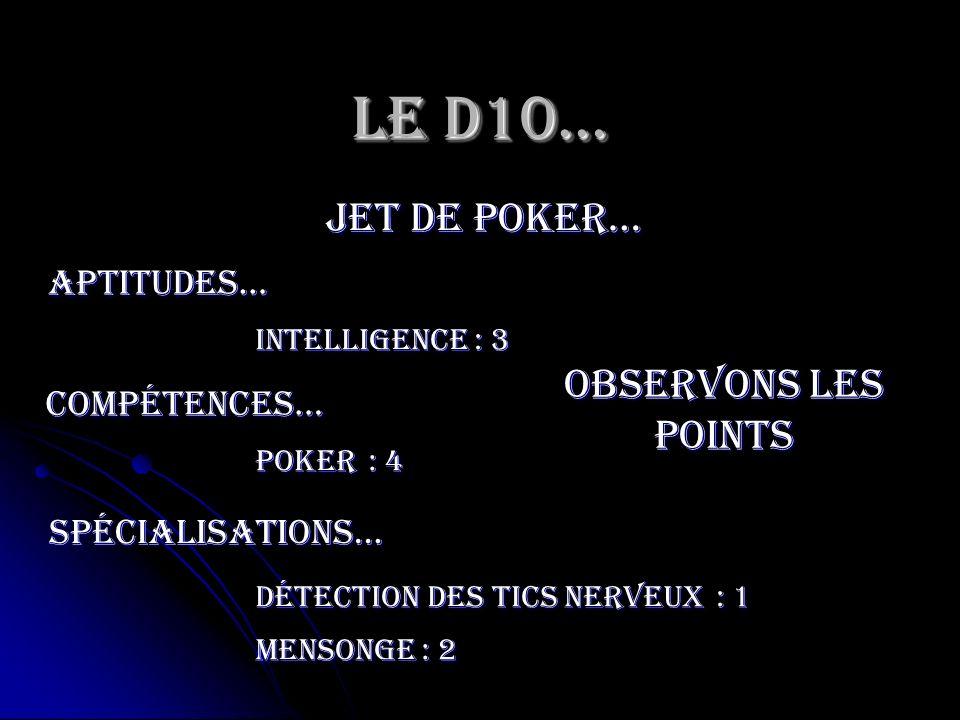 Le D10… jet de poker… Observons les points Aptitudes… compétences…