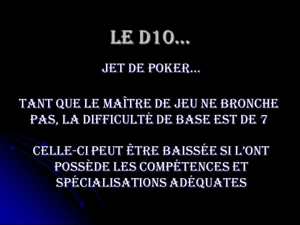 Le D10…jet de poker… Tant que le maître de jeu ne bronche pas, la difficulté de base est de 7.