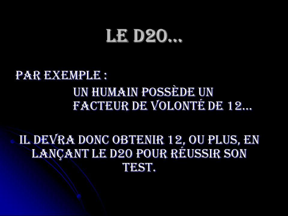 Le D20… Par exemple : Un humain possède un facteur de volonté de 12…