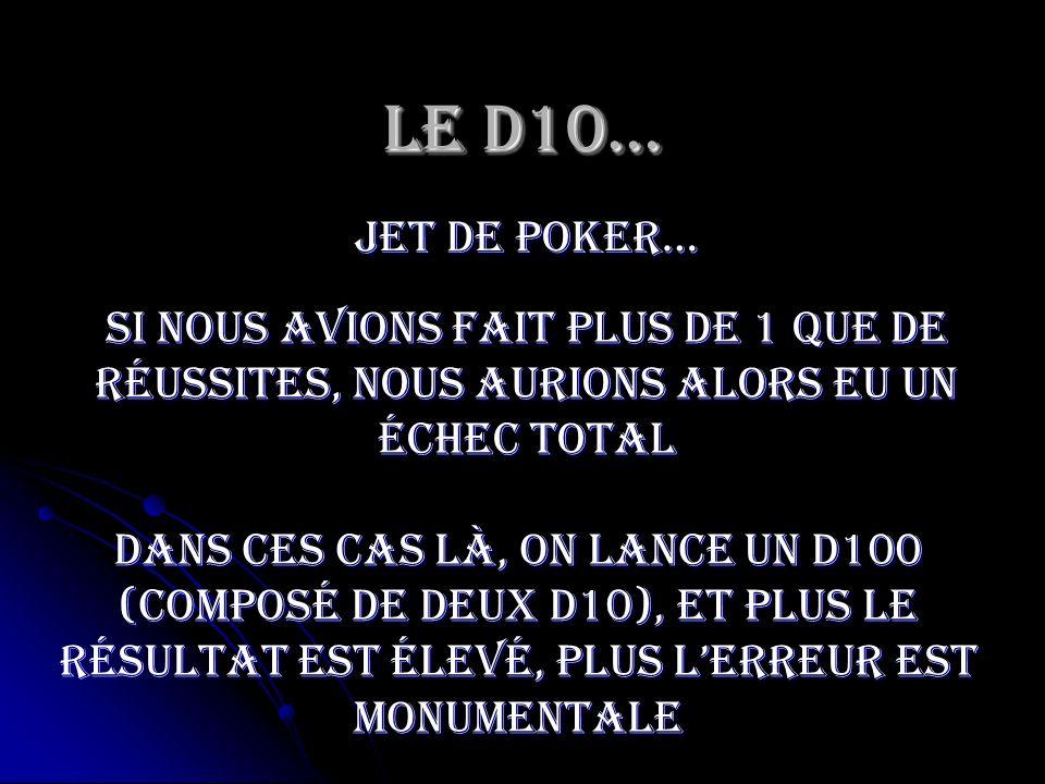 Le D10…jet de poker… Si nous avions fait plus de 1 que de réussites, nous aurions alors eu un échec total.