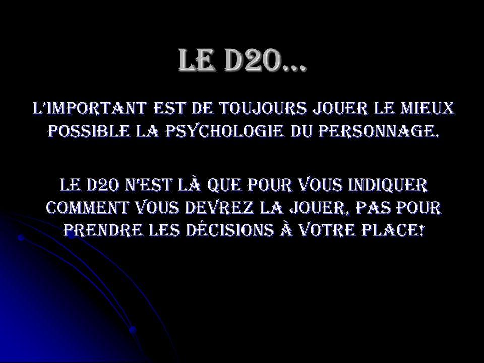 Le D20…L'important est de toujours jouer le mieux possible la psychologie du personnage.