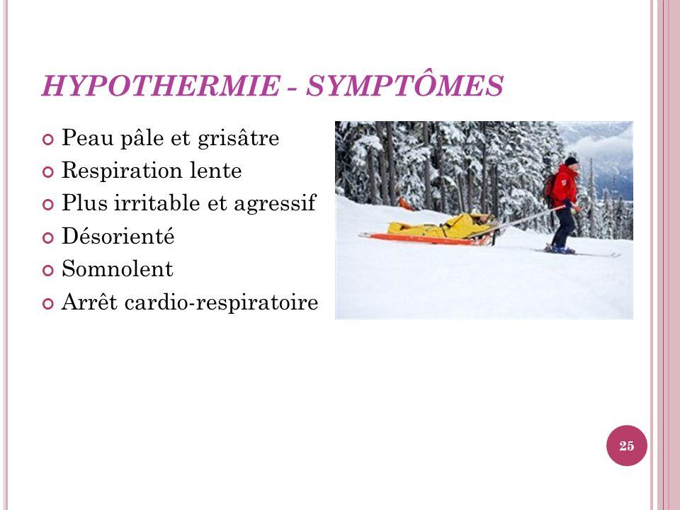 HYPOTHERMIE - SYMPTÔMES