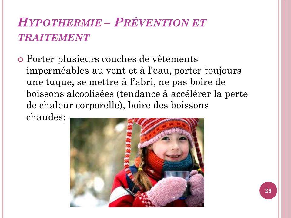 Hypothermie – Prévention et traitement
