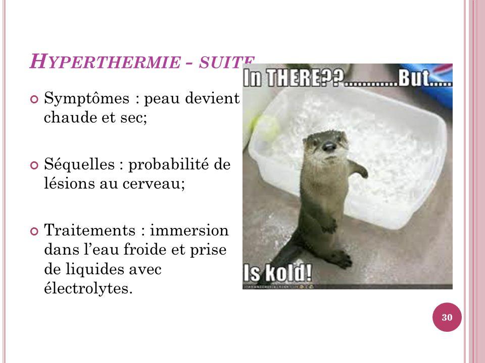 Hyperthermie - suite Symptômes : peau devient chaude et sec;