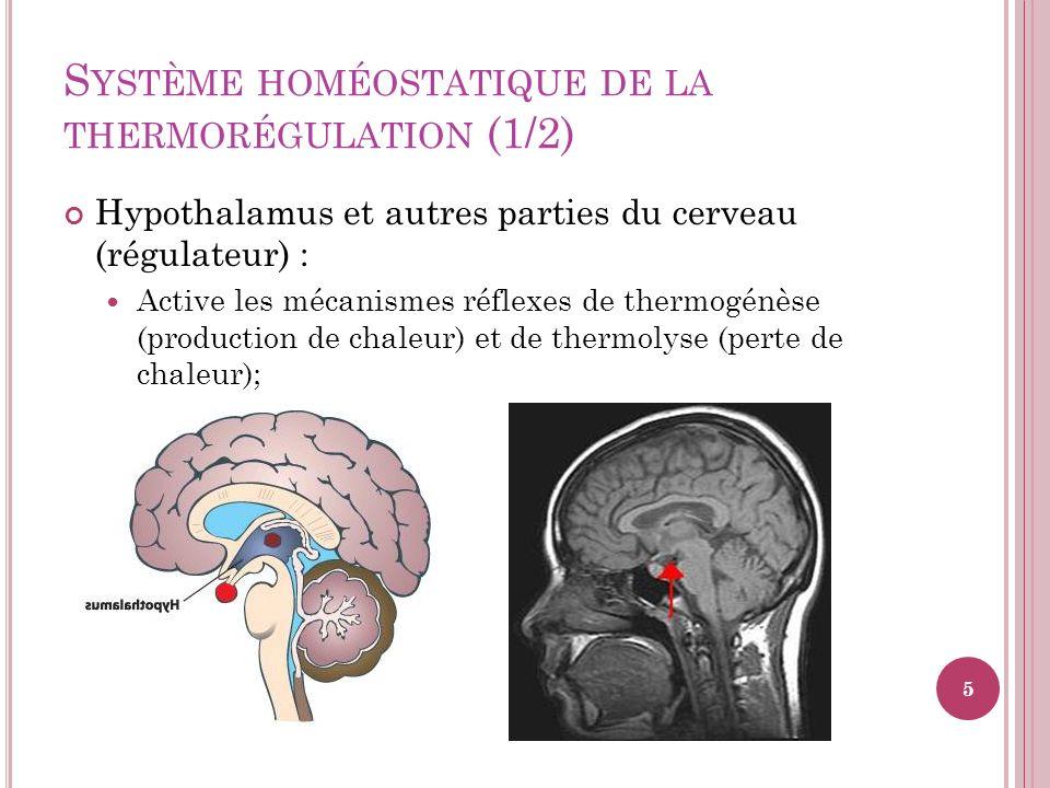Système homéostatique de la thermorégulation (1/2)