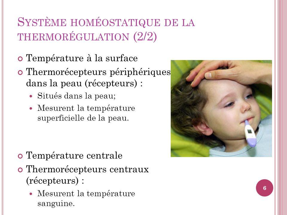 Système homéostatique de la thermorégulation (2/2)