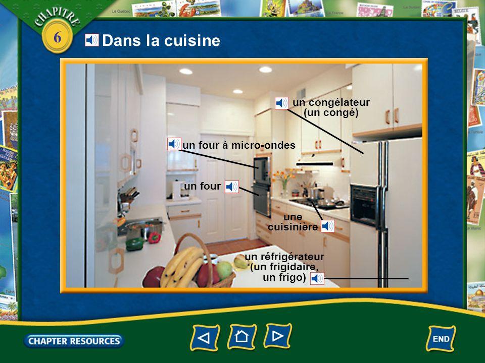 un congélateur (un congé) un réfrigérateur (un frigidaire, un frigo)