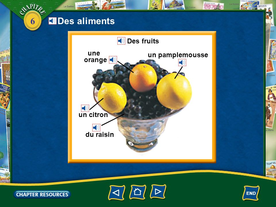 Des aliments Des fruits une orange un pamplemousse un citron du raisin