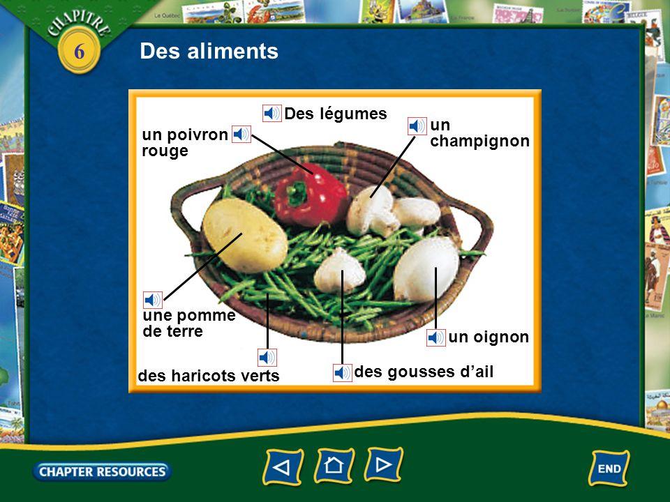 Des aliments Des légumes un champignon un poivron rouge