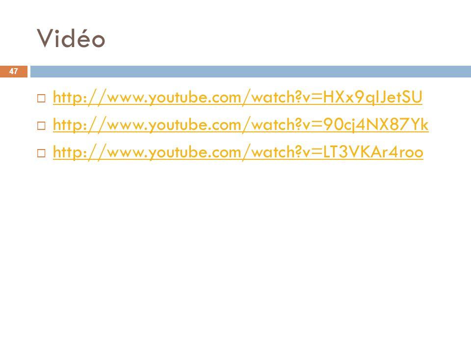 Vidéo http://www.youtube.com/watch v=HXx9qlJetSU