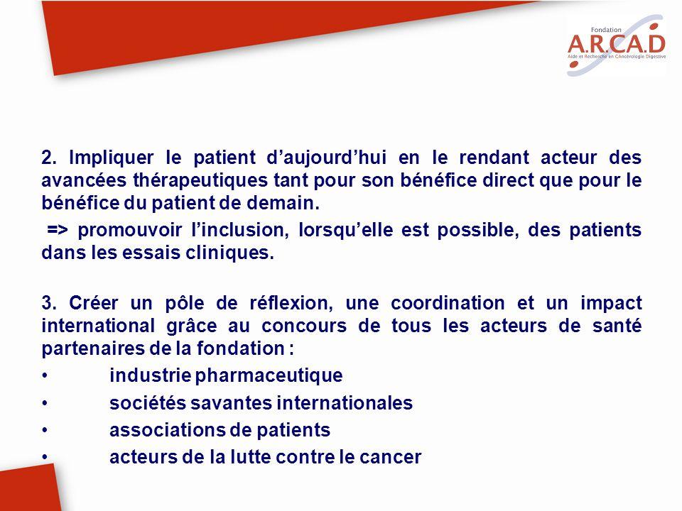 2. Impliquer le patient d'aujourd'hui en le rendant acteur des avancées thérapeutiques tant pour son bénéfice direct que pour le bénéfice du patient de demain.