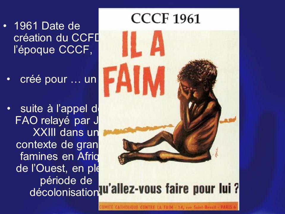 1961 Date de création du CCFD, à l'époque CCCF,