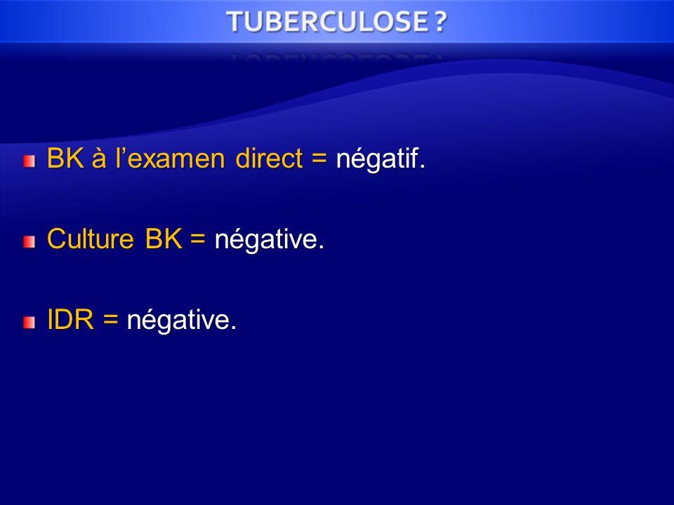 BK à l'examen direct = négatif.