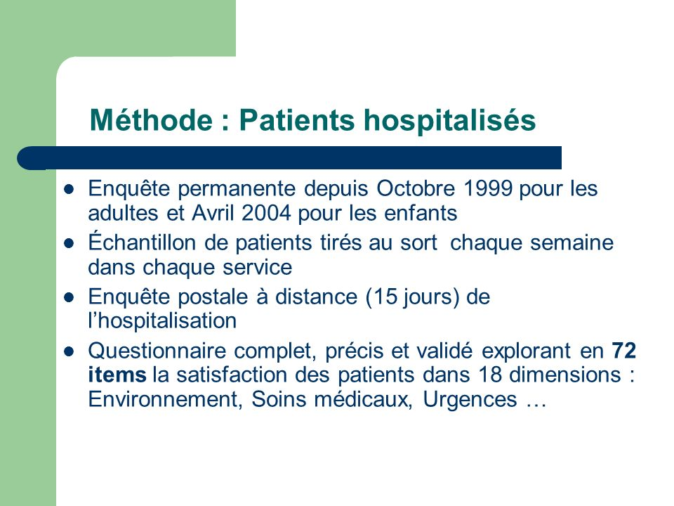 Méthode : Patients hospitalisés