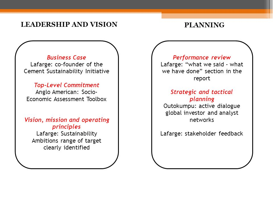 LEADERSHIP AND VISION PLANNING LEADERSHIP AND VISION PLANNING