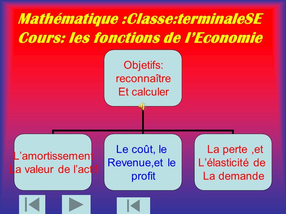 Mathématique :Classe:terminaleSE Cours: les fonctions de l'Economie