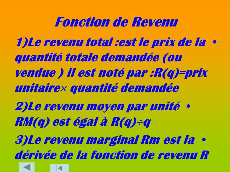Fonction de Revenu 1)Le revenu total :est le prix de la quantité totale demandée (ou vendue ) il est noté par :R(q)=prix unitaire quantité demandée.