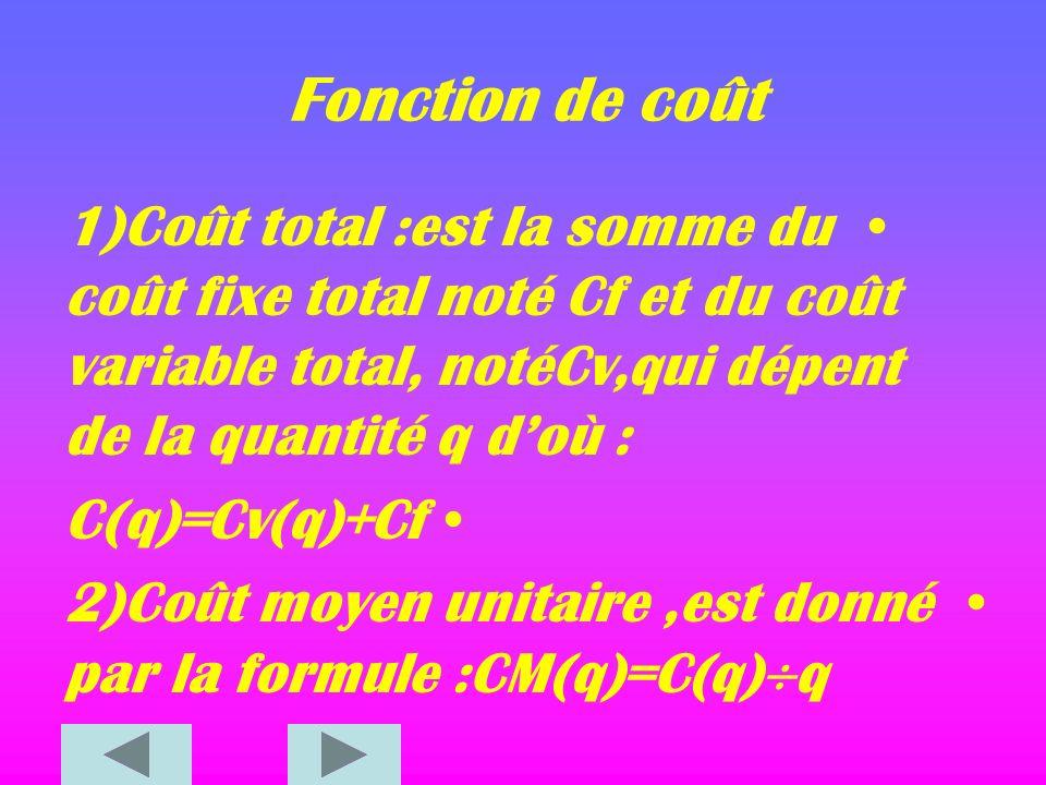 Fonction de coût 1)Coût total :est la somme du coût fixe total noté Cf et du coût variable total, notéCv,qui dépent de la quantité q d'où :