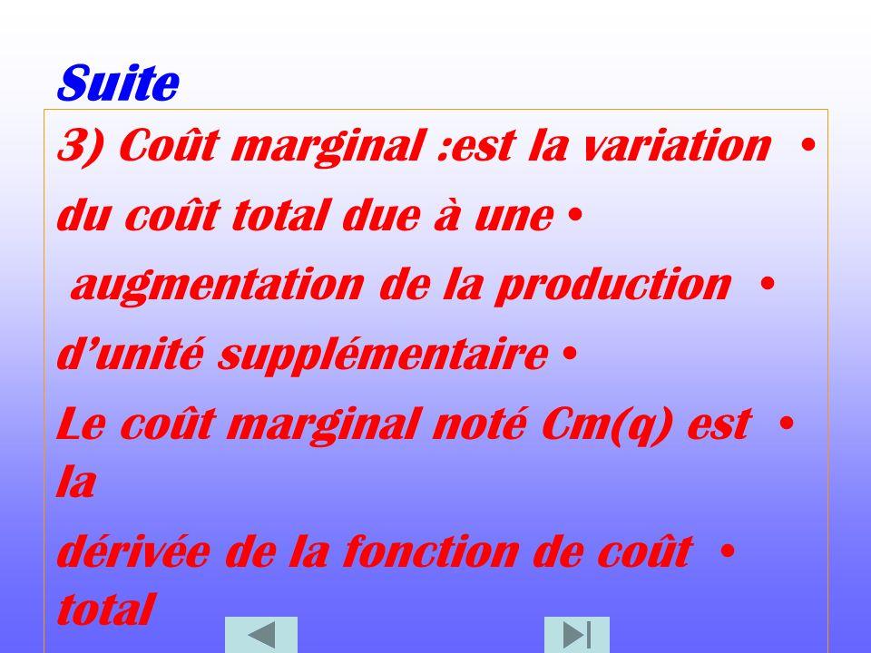 Suite 3) Coût marginal :est la variation du coût total due à une