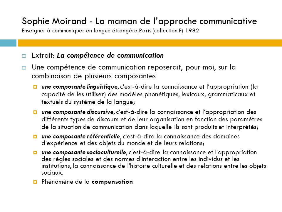 Sophie Moirand - La maman de l'approche communicative Enseigner à communiquer en langue étrangère,Paris (collection F) 1982