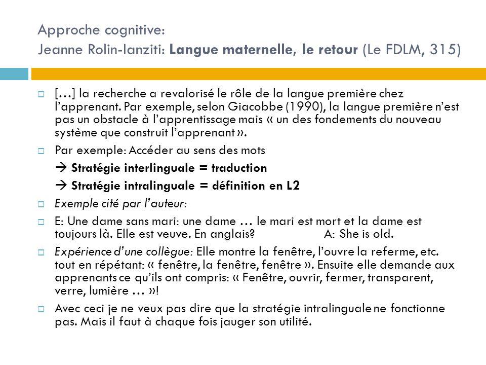 Approche cognitive: Jeanne Rolin-Ianziti: Langue maternelle, le retour (Le FDLM, 315)