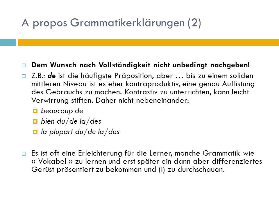 A propos Grammatikerklärungen (2)