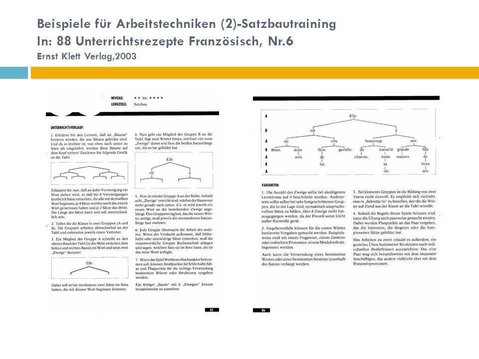 Beispiele für Arbeitstechniken (2)-Satzbautraining In: 88 Unterrichtsrezepte Französisch, Nr.6 Ernst Klett Verlag,2003