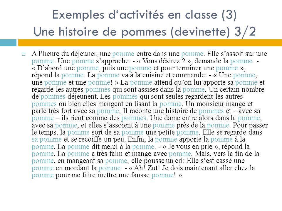 Exemples d'activités en classe (3) Une histoire de pommes (devinette) 3/2