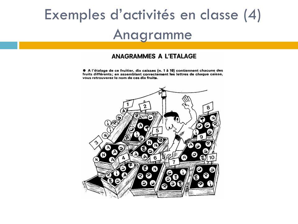 Exemples d'activités en classe (4) Anagramme