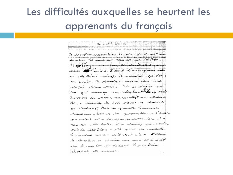 Les difficultés auxquelles se heurtent les apprenants du français