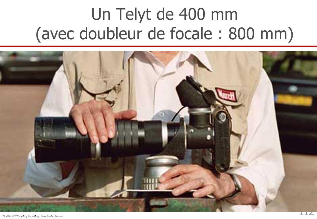 Un Telyt de 400 mm (avec doubleur de focale : 800 mm)