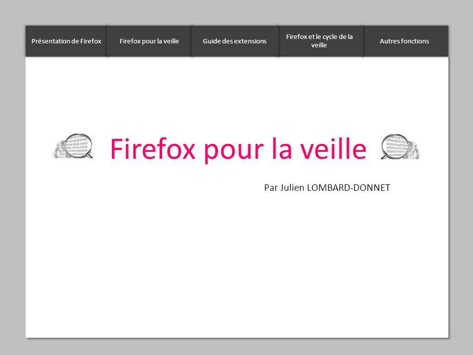 Firefox pour la veille Par Julien LOMBARD-DONNET