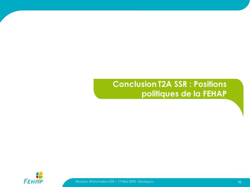 Conclusion T2A SSR : Positions politiques de la FEHAP